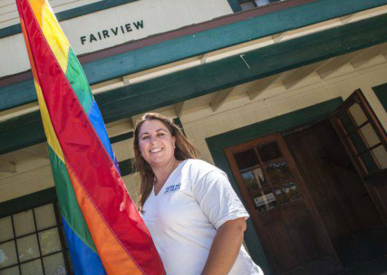 Sarah with Rainbow Flag
